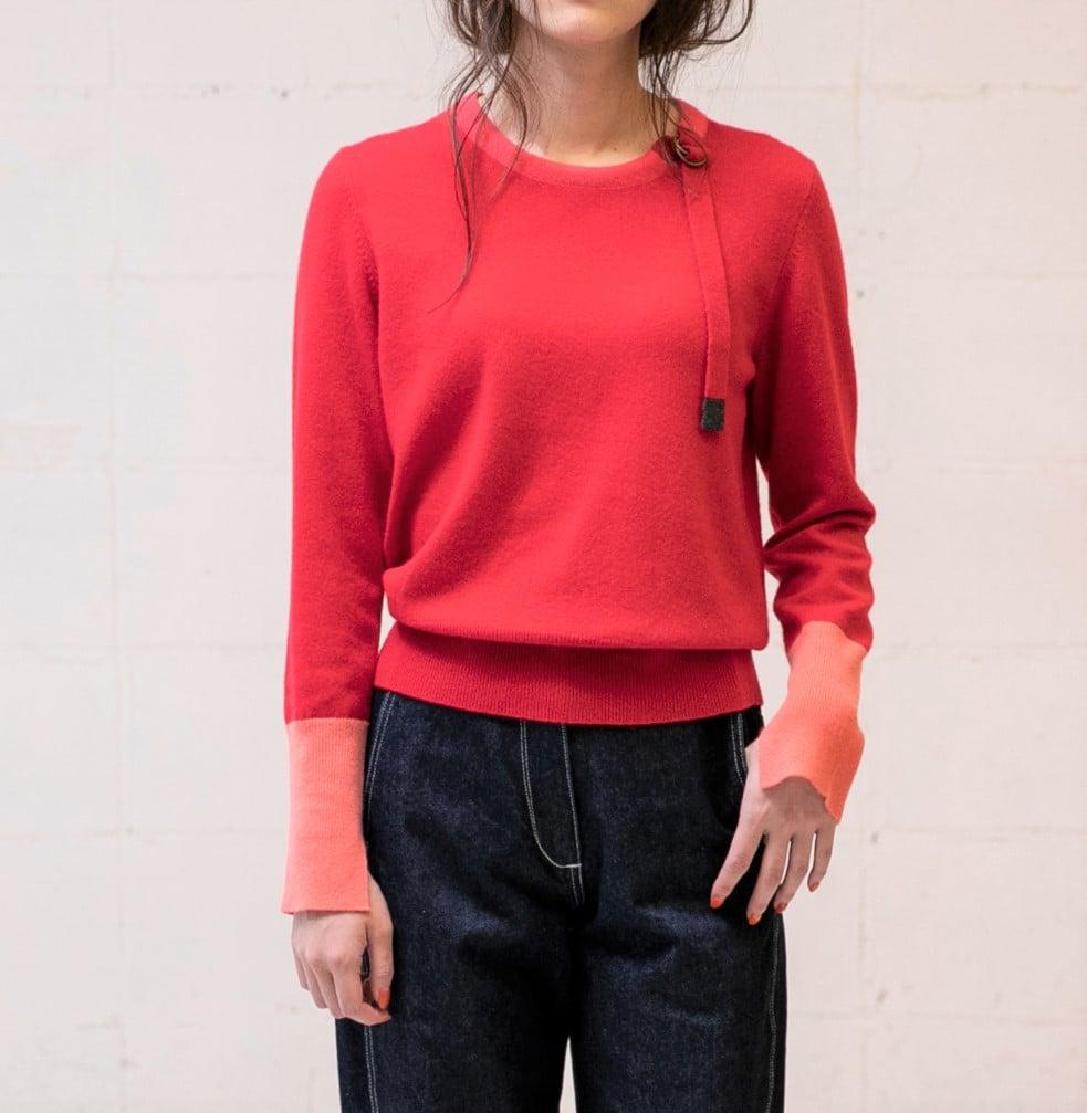 カシミヤネックデザイン袖配色の写真