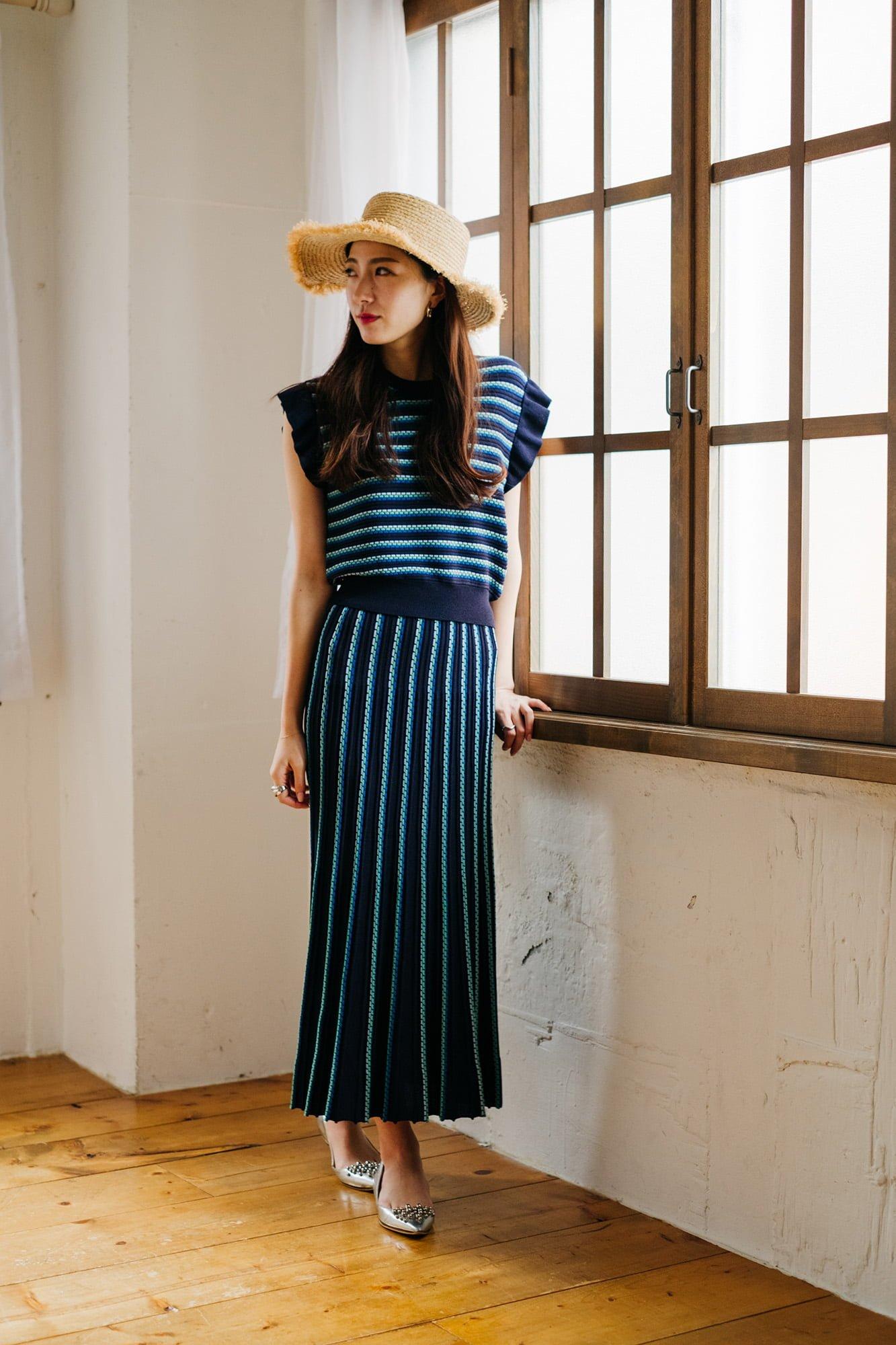 ステッチボーダースカートの写真